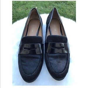 CALVIN KLEIN CELIA BLACK HAIR CALF LOAFER Sz 5.5